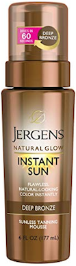 Jergens Natural Glow Instant Sun Sunless Tanning Mousse for Body, Deep Bronze